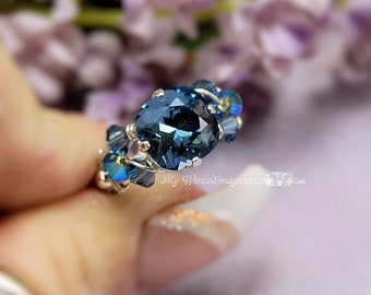 Denim Blue Swarovski Crystal, Handmade Ring, Wire Wrapped Crystal Ring, Unique Engagement, Unique Anniversary, London Topaz Blue