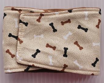 Male dog belly band, brown dog bones