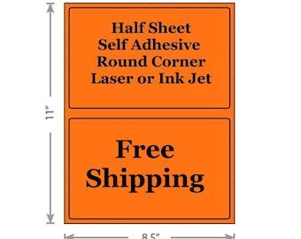Fluorescent Orange Shipping Labels 8.5x5.5 Half Sheet Self Adhesive Etsy PayPal Stamps USPS InkJet Laser Free Same Day Shipping