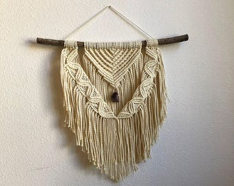 Medium Macrame Wall Hanging with Genuine Purple Jasper Crystal on Foraged Tree Branch, Woven Wall Hanging, Boho Home Woven Tapestry