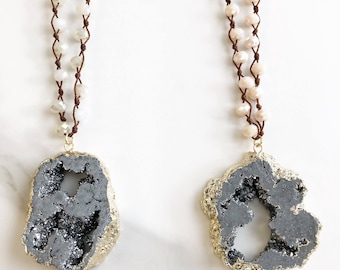 Large silver druzy necklace