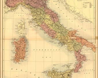Poster, Many Sizes Available; Map Of Italy 1890