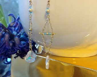 Gold and Blue Iridescent Earrings