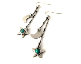 moon and stars earrings, sterling silver and turquoise dangle earrings, silver chain earrings, ready to ship