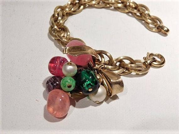 NAPIER Charm Bracelet / Art Glass Beads /  Mid Century 1960s 60s /  Fashion Designer Eugene Bertolli / Wedding Bride Bridal Jewelry