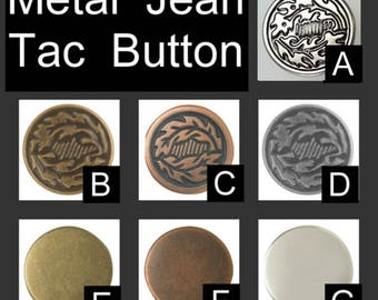 "Package of 12 - 5/8"" - Metal Jean Tack Buttons, Your Choice of  Finish - 5/8 inch"