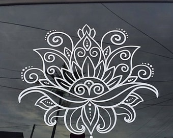 Beautiful Lotus Flower Henna Paisley Floral boho Vinyl Decal Car Decal Wall Decal  zen yoga OM ornamental decorative meditate pretty