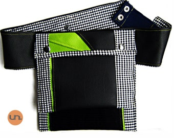 Double Bag, Handmade Personalized Waist Bag, Vegan Friendly, Vegan Leather, Leather Waist Bag, Leather Hip Bag, Music Festival Bag, UNUSUAL