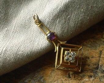 Antique Vintage Amethyst Paste Pendant, Faux diamond Amethyst Pendant, Deco Gem Pendant, Jewelry gift for her under 30