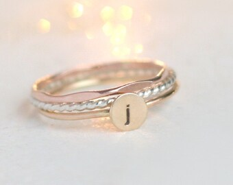 personalized initial stacking ring SET. mixed metal rings. rose, gold sterling silver stacking ring set of THREE rings. gift for her.