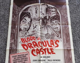 Blood Of Draculas Castle 1969 Movie Poster Original One Sheet Horror Poster John Carradine