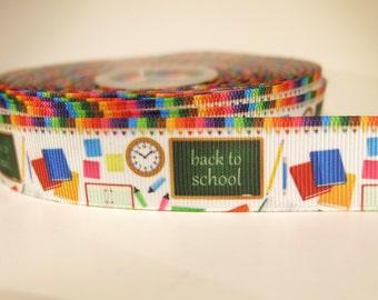 "5 yards of 7/8 inch ""Back to school"" grosgrain ribbon"