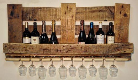 Portabottiglie mensola di pallet in legno cantinetta per il - Portabottiglie di vino in legno ...