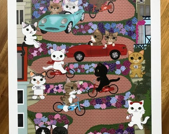 Lombard Street with cats