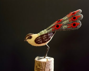 Fabric Bird Statuette, hand made bird for living room decoration made from luxury fibres.
