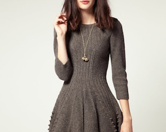 Hand knitted dress, knit dress, soft and light. Angora/Acrylic. To order.