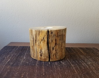 Candle Holder Rustic Pine Wood Décor