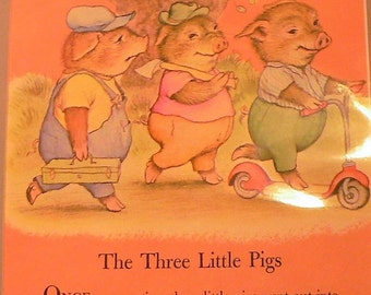1958 Three Little Pigs Matted Vintage Print