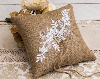 Burlap and Lace  Ring Bearer Pillow, Rustic Wedding Ring Pillow, Country Wedding, Country Chic Ring Pillow