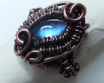 Wire-wrapped Copper & Rainbow Moonstone Ring - Gothic, Blue fire - UK Sz M