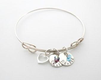 Personalized Heart Bangle - Custom Name Bracelet - Birthstone Jewelry - Mothers Bracelet - Grandma - Engraved - Personalized Jewelry