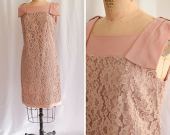 1960s Dress | Camilla | Vintage 60's Lace Dress Rosy Tan Trapeze Shift Silk Yoke Hem and Bow Shoulders Sixties Cocktail Party Dress Size L