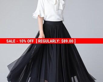 black tulle skirt, tulle skirt women, long skirt, flare skirt, elastic waist skirt, summer skirt, classic skirt, tulle bridesmaid skirt 1902
