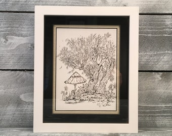 Wall Art, Original Pen and Ink Art Drawing Framed Artwork, Artist Guido E. Orsini, Illustration, Metaphorical, Surreal