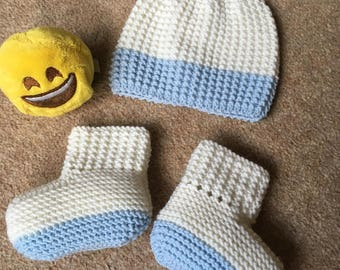 Baby Hat and Booties Set, Size 3-6 Months