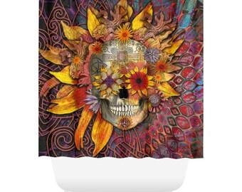 Sunflower Sugar Skull Shower Curtain - Floral Skull Bath Curtain - Dia De Los Muertos Bathroom Decor - Origins Botaniskull