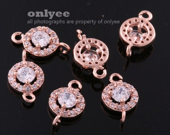 2pcs-10.5mmX6mmBright RoseGold plated Brass Cubic zirconia Oval Round Connectors(K1087R)