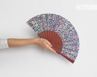Violet Wood hand fan - Purple Rain -  Hot flash menopause remedy - Gift for mom