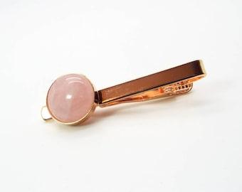 Rustic Rose Gold – Rose Quartz Tie Clip  - Pink Tie Clip  - Rose Quartz Tie Bar