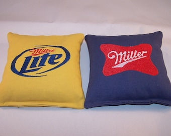 Embroidered Miller and Miller Lite Cornhole Bags Set of Eight - Sweet