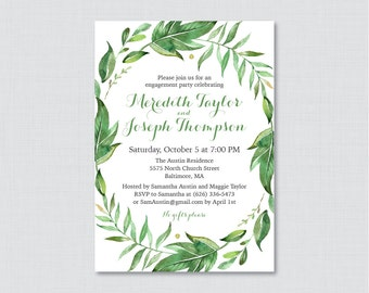 Green Engagement Party Invitation Printable or Printed - Green Botanical Wreath Engagement Party Invitations - Simple, Elegant, Classic 0021