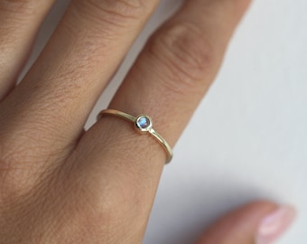 Moonstone Ring, Gold Moonstone Ring, Moonstone Solitaire Ring, Dainty Moonstone Ring, Moonstone Stacking Ring, 14k Gold Ring, Silver Ring