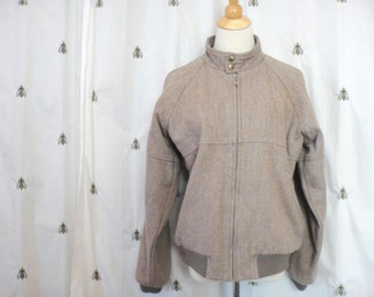 Vintage Tweed Mens Bomber Jacket, Beige, Size Medium, Unisex, VAQO, 1980s Perfection, Men