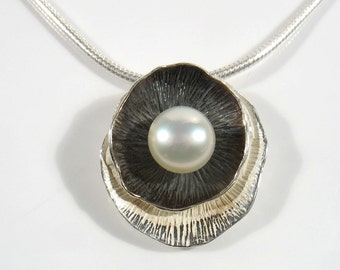 Sterling silver  shell in a shell, partly oxidized holding a white pearl.16 inch snake silver chain. bride necklace, daily  elegant necklace