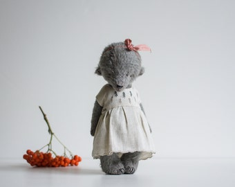 Made To Order Mohair Teddy Bear Embroidered Dress 8 Inches Stuffed Animal Soft Toys Personalized Gift For Her Artist Teddy Bear Handmade Toy
