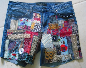 up cycled denim jeans shorts, boho, festival wear, patched jeans, patchwork, cufoffs, size 12