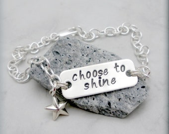 Inspirational Bracelet, Sterling Silver, Handstamped, Graduation, Star Bracelet, Charm Bracelet, Chain, Star Jewelry, Choose to Shine