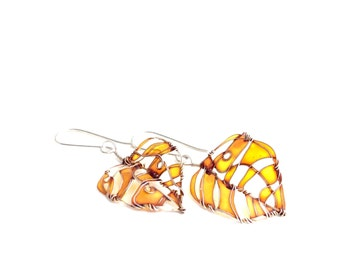 Amber Leaves Silver Earrings. Elegant Earrings. Amber Earrings. Amber Jewelry. Unique Jewelry. Wire Wrapped Jewelry.