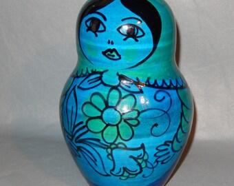 RIMINI BLUE Bitossi Aldo Londi RARE Russian Doll Bank Italian Pottery Raymor Mid Century   Free Shipping!