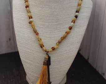 Amber Tassel Boho Beaded Necklace Boho Jewelry Hippie Jewelry Handmade Boho Hippie Necklace Bohemian Beaded Jewelry Pendant Necklace