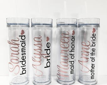 6 Personalized Bridesmaid Tumblers, Wedding Party Tumblers, Bachelorette Party, Bachelorette Cups