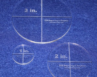 "3 Piece Circle Set 1"", 2"", 3"" 1/8"" Clear Acrylic - Quilting Templates"