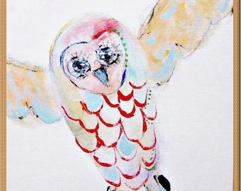 OWL, acrylic on canvas paper, original art