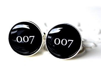 007 cufflinks - black and white James Bond Inspired mens accessories