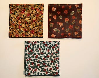 Set of 3 Longaberger Seasonal Napkins/Liners