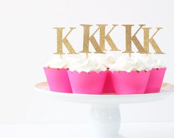 Gold Glitter Cupcake Toppers Girls Birthday Party Personalized Initial Letter Toppers Gold Glitter Party Supplies Princess Party / Set of 12